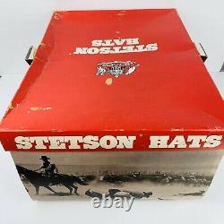 6 &7/8 Vtg John B Stetson 3X Beaver XXX Dk Brown Rancher Cowboy Hat+Box+ JBS Pin