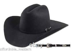 BLACK 4X Beaver Fur Felt HAT 4 Brim Rodeo King Cowboy Western Strait
