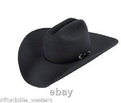 BLACK 5X Beaver Felt Hat Oversized 4 7/8 5 Brim Cowboy, Custom Creased