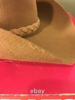 John B. Stetson 4X Beaver Brown Felt Men's Western Cowboy Hat Size 7 1/8