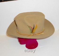 John B Stetson Cowboy Hat 4 X Beaver Size 7 1/2 Beautiful Hat With Feathers Look