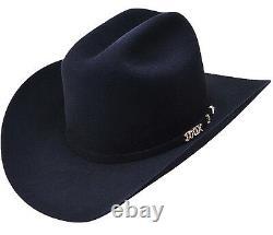 Men's Serratelli 100X Beaver Felt Comandant Western Cowboy Hat Black Made in USA