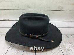 Mens Vintage STETSON 4X Beaver Black Cowboy Hat Sz 6 7/8