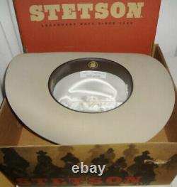 NEW STETSON XXXXX COWBOY tan BEAVER FELT RANCHER HAT- 7 3/8 MINT IN BOX & TAGS