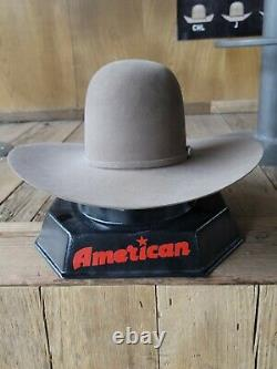 NEW pecan 20X AMERICAN HAT CO. FELT HAT, 4 1/2 BRIM, 6 OPEN CROWN SIZE 7 1/8