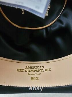 New Black 60x American Hat Co. Felt Hat, 4 1/2 Brim, 6 Open Crown Size 7 3/8