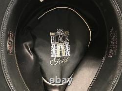 RESISTOL Self-Conforming 20X BEAVER FELT BLACK GOLD WESTERN COWBOY HAT LONG OVAL