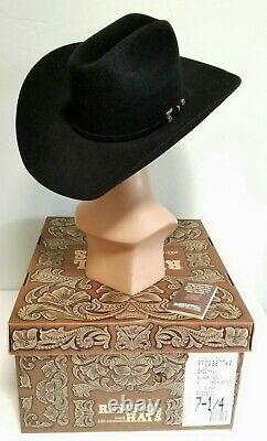 Resistol 20X Beaver Felt Black Gold 4 Inch Brim Cowboy Western Hat 7 1/4