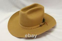 Resistol 3X Beaver Felt Cowboy Hat Sand Self Conforming 7 3/4 Western Vintage