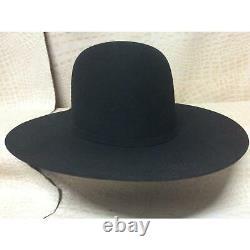 Resistol 6X Midnight Black Beaver Fur Felt Open Crown Cowboy Hat Western Rodeo