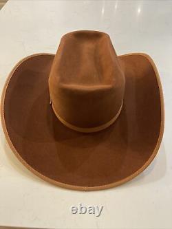 Rodeo King Hat 7X Whiske Dual Tone Bound Edge 4 1/2 Brim Felt Natural Band 7 1/4