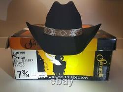 SERRATELLI 6X BLACK 4 BRIM WESTERN COWBOY HAT Size 7 3/8 beaded band NIB