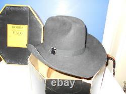 Stetson Black 4 XXXX Beaver Cowboy Hat 7 1/4 with Vintage Dobbs Hat Box