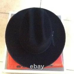 Stetson Cowboy Hat 6X Beaver Felt Black Open Road With Hat Brush Cleaner