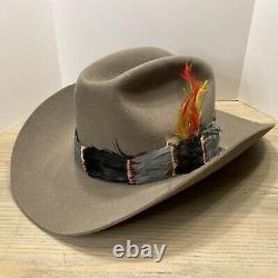 Stetson Gray 3X XXX Beaver Western Cowboy Hat Size 7 1/4 Feather Band