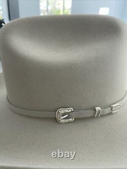 Stetson Rancher Cowboy Hat 6X Beaver Fur Felt New In Box Size 6 7/8 Silver Grey
