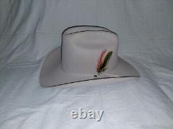 Stetson Rancher Western Hat 5X Beaver Light Gray Sz 7 3/8 Long Oval with CASE