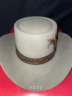 Stetson Revenger Western Cowboy Hat Color Taupe 7 1/8 4X Beaver Vintage Box