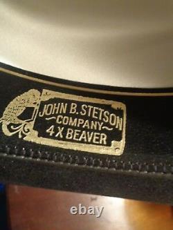 Stetson Western Cowboy Hat Black 4X Beaver Fur Size 56/7 JBD Pin 4 Brim USA