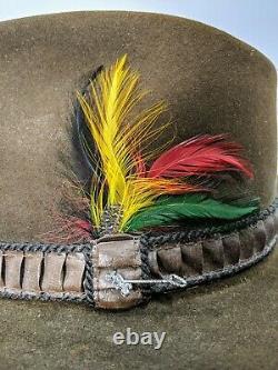 Stetson XXXX 4X Beaver Brown Cowboy Western Hat Sz 7 With JBS Pin