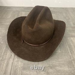 Texas Hatters Travis County Sheriff's Cowboy hat Fur Blend Brown 7 1/2 Rare Cool