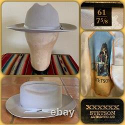 VTG 90s STETSON OPEN ROAD 6x BEAVER FEDORA 7 5/8 HAT Cowboy Western XL Pin USA