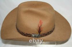 VTG John B Stetson Western Cowboy Ten Gallon Hat 4X Beaver Felt Brown Size 7-3/8