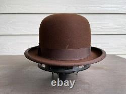 Vintage Antique Knox 1900s Fedora Beaver Felt Bowler Cowboy Hat 7 Brown Western