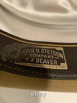 Vintage John B. Stetson 4X Beaver Gambler Style Cowboy Beige Hat Size 7 3/8