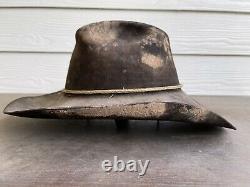 Vintage Rugged 15X Beaver Felt Resistol Bull Rider Rodeo Cowboy Hat 7 1/4 Black