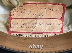 Vintage Rugged 15X Beaver Felt Resistol Bull Rider Rodeo Cowboy Hat 7 1/8 Black