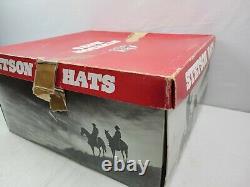 Vintage Stetson 3X Beaver Felt Western Cowboy Feather Brown Beige Hat 7 withBox