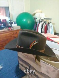 Vintage Stetson 3X Beaver XXX Western Hat JBS Feather 7 1/4 Excellent Cowboy