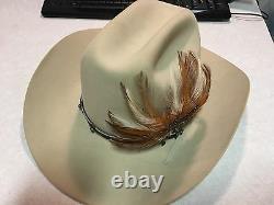 Vintage Stetson Cowboy Hat Rancher, 10X XXXXXXXXXX Beaver Bone Feather, $ilver &