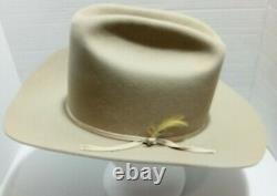 Vintage Stetson Cowboy Hat Rancher, 4X Beaver. Bone 7 1/8