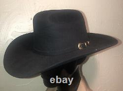 Vintage Stetson Cowboy Hat Rancher 6X XXXXXX Beaver Black Goldstone Band 7 1/4