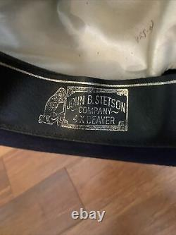 Vintage Stetson Gus Open Road Navy Blue 7 1/2 4x Beaver