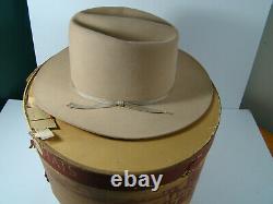 Vtg 1950s John B. Stetson Cowboy Hat 3X Beaver & Hat Box