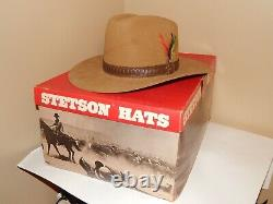 Vtg 1980's Stetson 4X Beaver Cowboy Hat Stampede Color-Acorn size 7-1/8 withBox