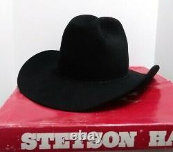 Vtg John B Stetson Cowboy Hat 7 ¼ Black 4X Beaver Felt XXXX Comstock F2140 withBox