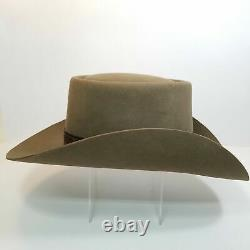 Vtg Stetson Brown Gambler Hat 1970s 4X Beaver 6 7/8 Leather Band Feathers Box