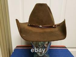 Vtg Stetson Western Hat Size Fits Like 7 1/8 Brown Stain Grunge Holes Sweat